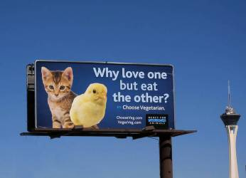 """Why love one but eat the other?"" billboard."