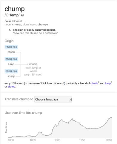"""2014. """"Chump,"""" Google.com. Accessed February 6, 2014."""
